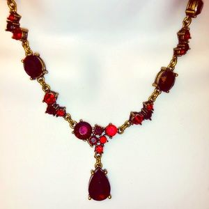 Vintage style red & gold tear drop necklace